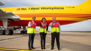 Deutsche Post Group İnsan Kaynakları Direktörü Thomas Ogilvie, DHL Express İK'dan Sorumlu Genel Müdür Yardımcısı Regine Büttner, DHL Express CEO'su John Pearson...